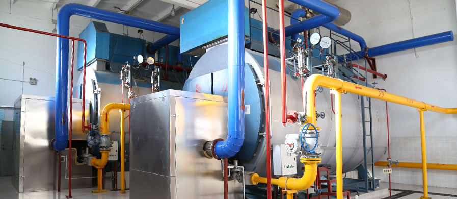 Integrated condensing gas steam boiler